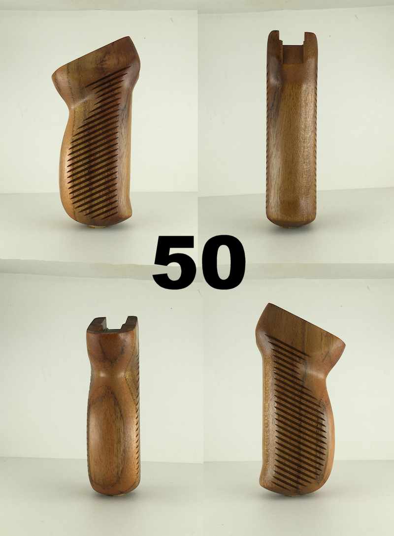 50 - Yugo M70 Style Teak Grip with Grip Lines